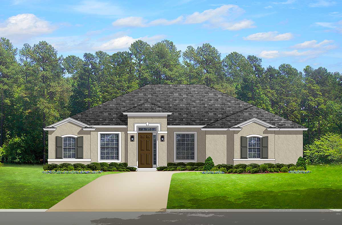 Florida house plan with two versions 82115ka for Florida house designs