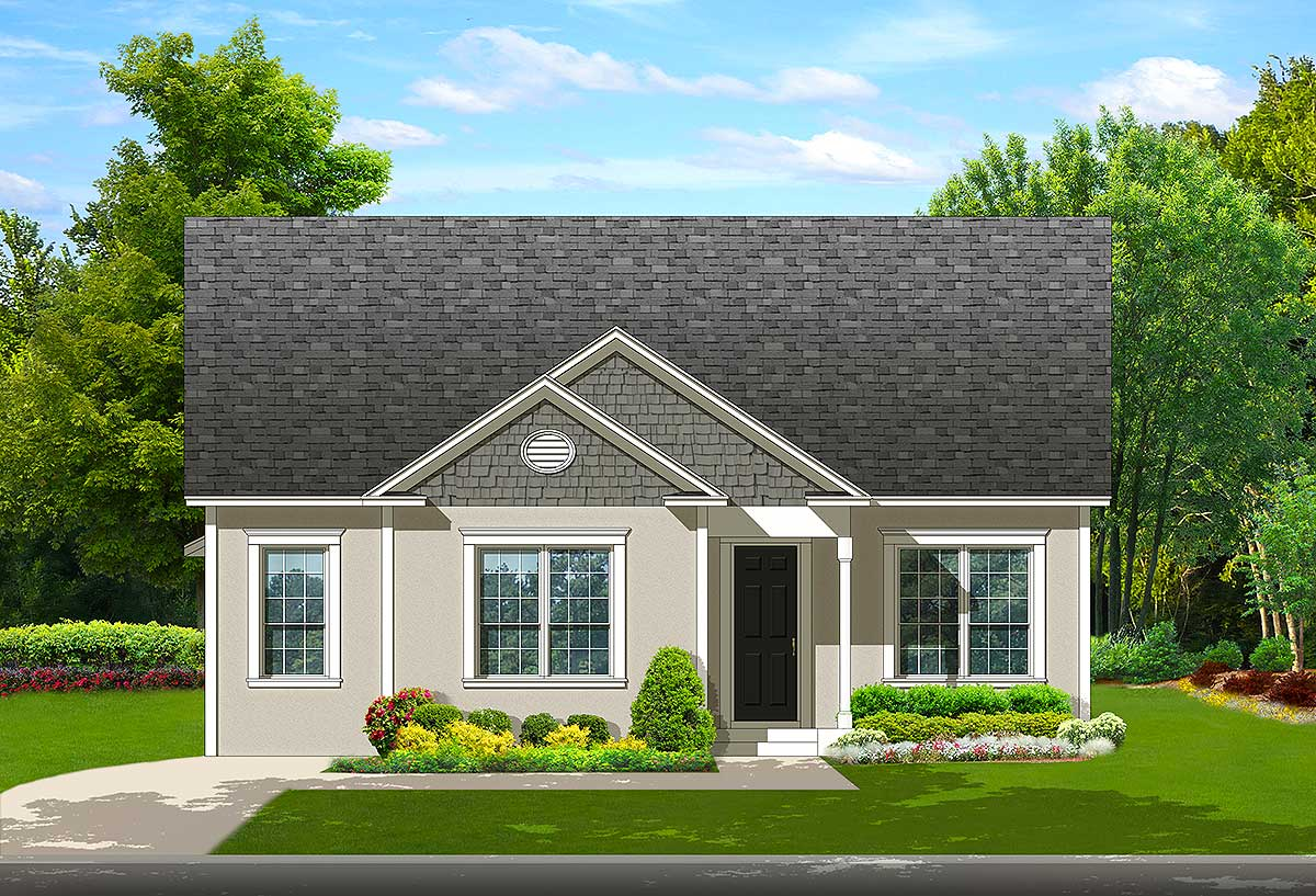 Traditional house plan for narrow lot 82136ka 1st for Shallow lot ranch house plans