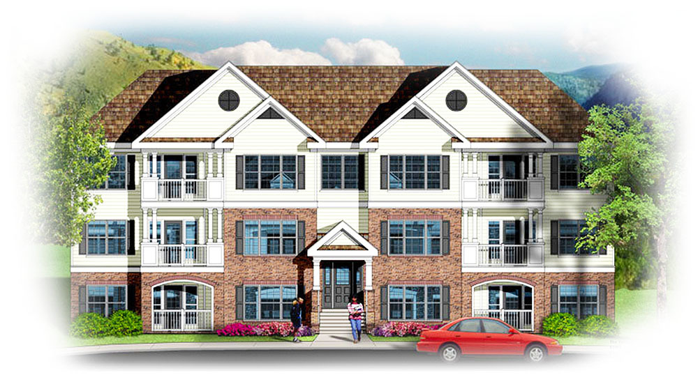3 story 12 unit apartment building 83117dc for Four unit apartment building plans