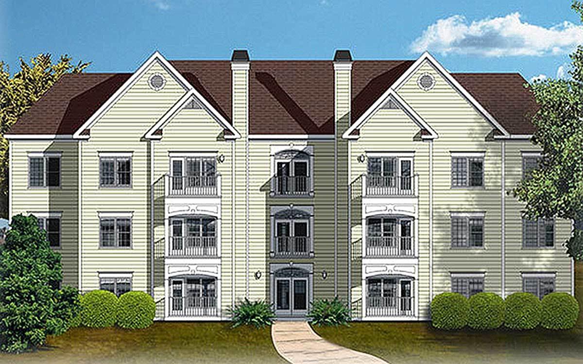 12 Unit Apartment Building Plan - 83120DC   Architectural Designs ...