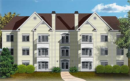 12 unit apartment building plan 83120dc 1st floor