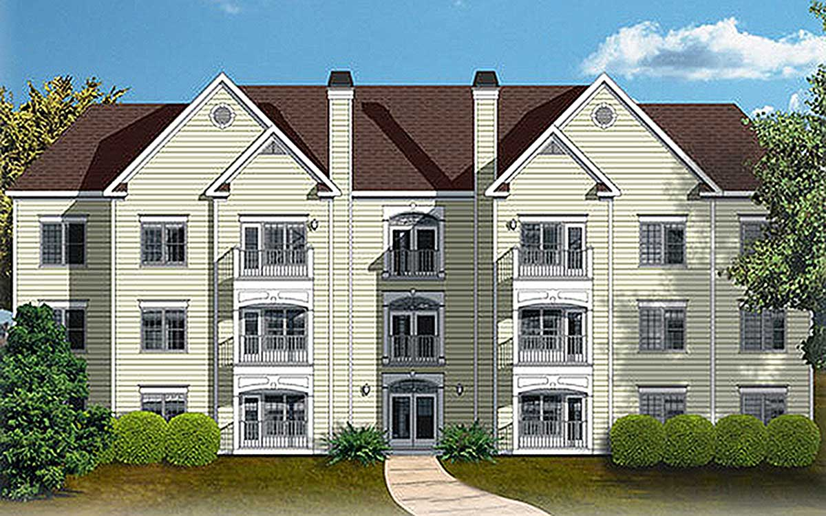 12 unit apartment building plan 83120dc architectural for Home builder plans