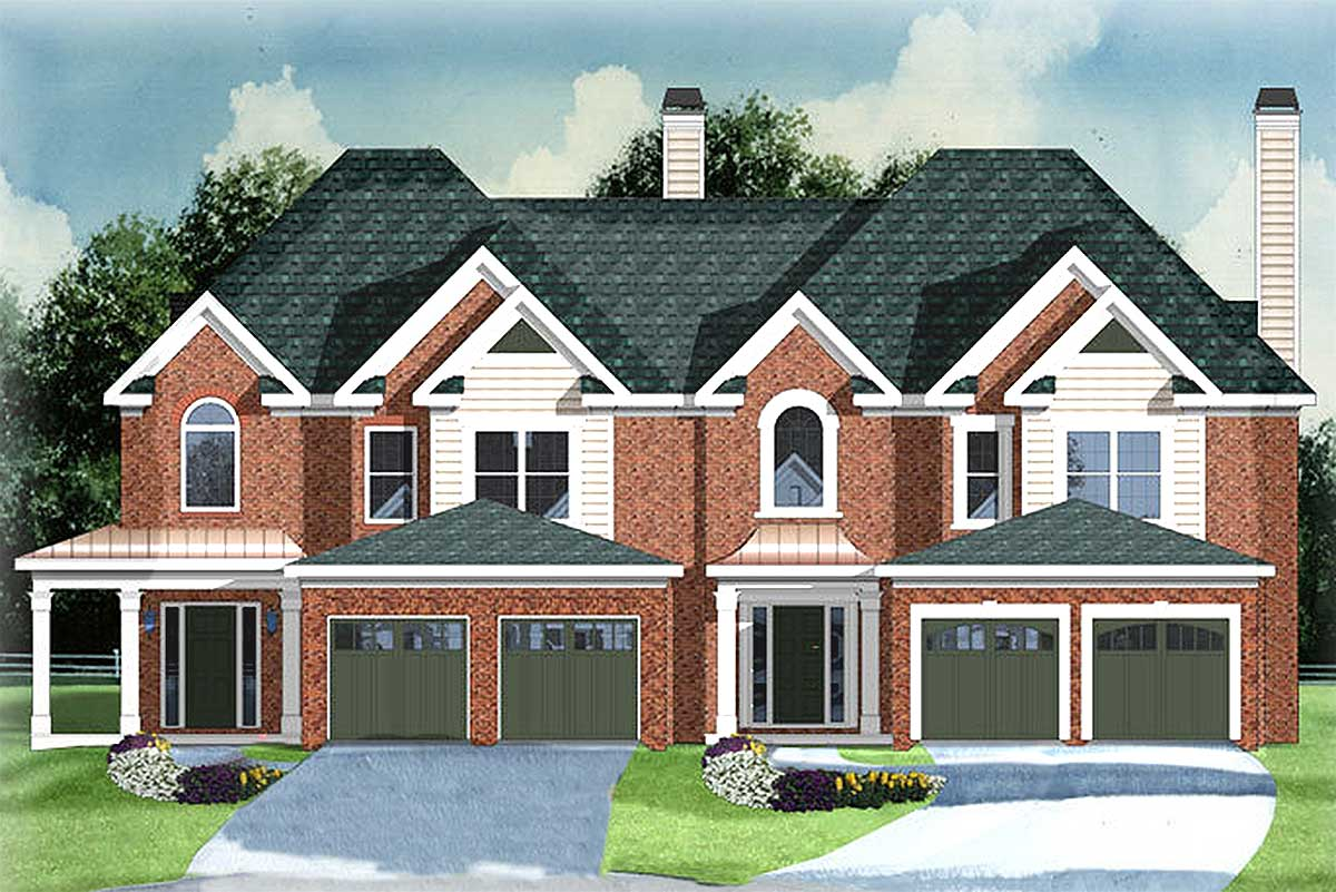 2 unit townhouse with 2 car garage 83121dc for Townhouse plans with garage