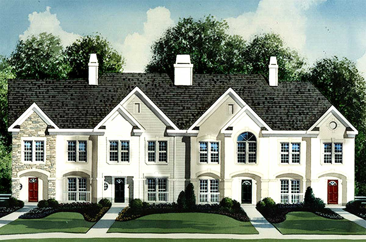 4 Unit Townhouse Plan 83125dc Architectural Designs