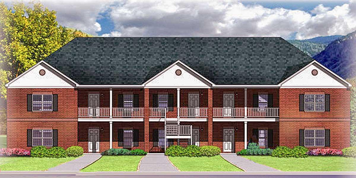 10 Unit Apartment Building Plan - 83128DC | Architectural ...