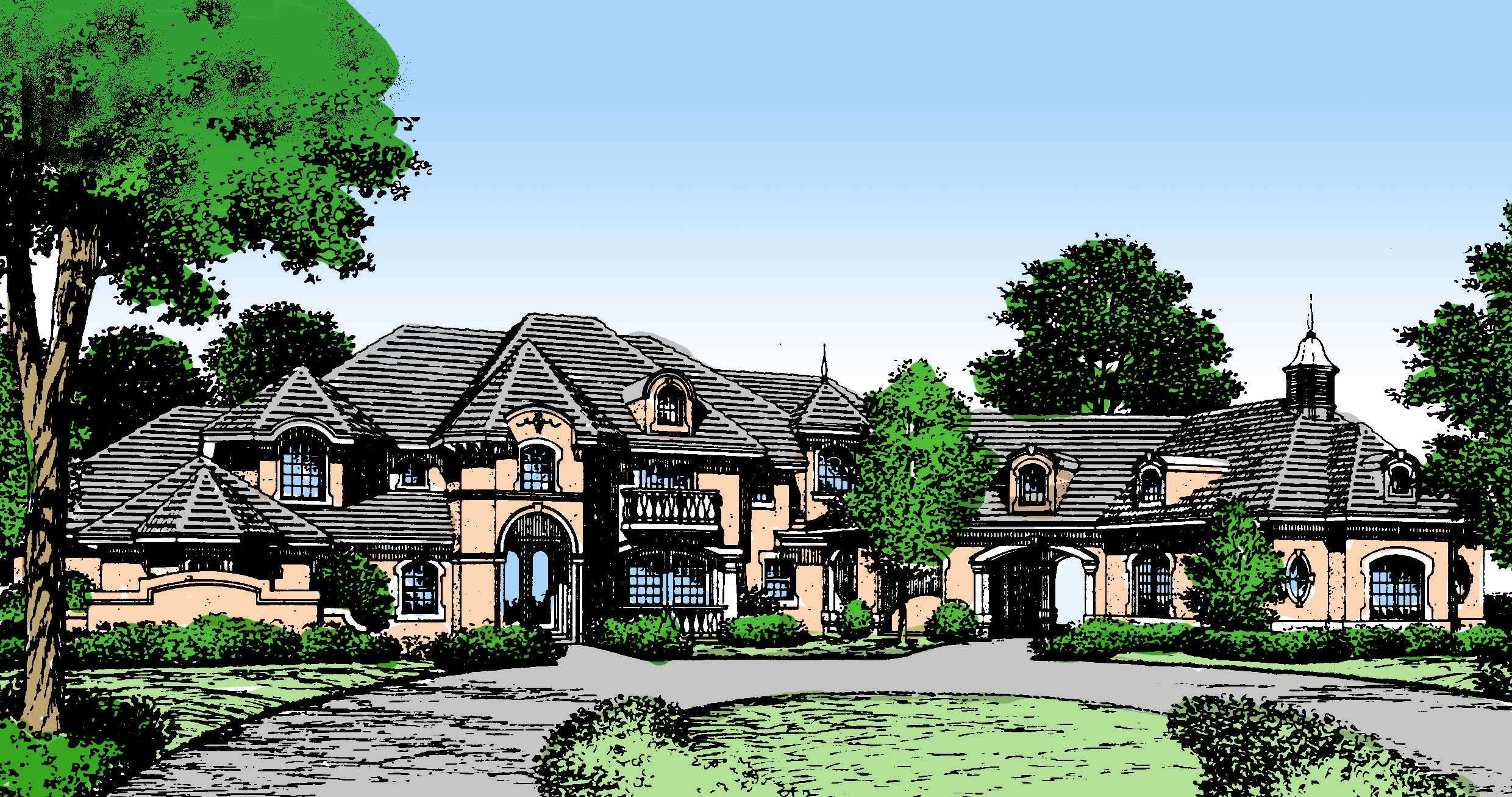 Impressive french country estate home 83304cl 1st for Estate home plans
