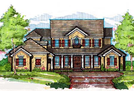 Beautiful Southern Colonial   CL   st Floor Master Suite    Plan CL ArchitecturalDesigns com