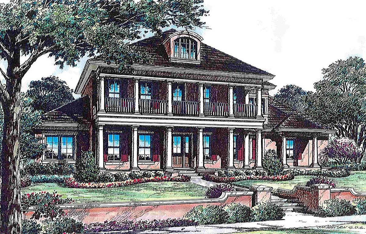 Southern luxury 83351cl 1st floor master suite butler for Luxury plantation home plans