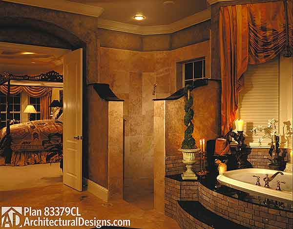 Luxurious master bedroom suite 83379cl 1st floor for Master suite bathroom