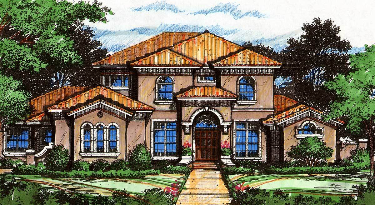 Florida style luxury 83381cl architectural designs for Luxury florida house plans