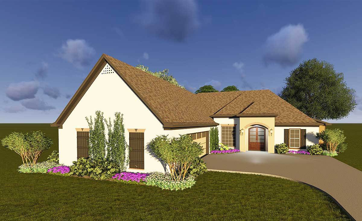 Southern house plan with courtyard garage 83871jw for What is a courtyard garage