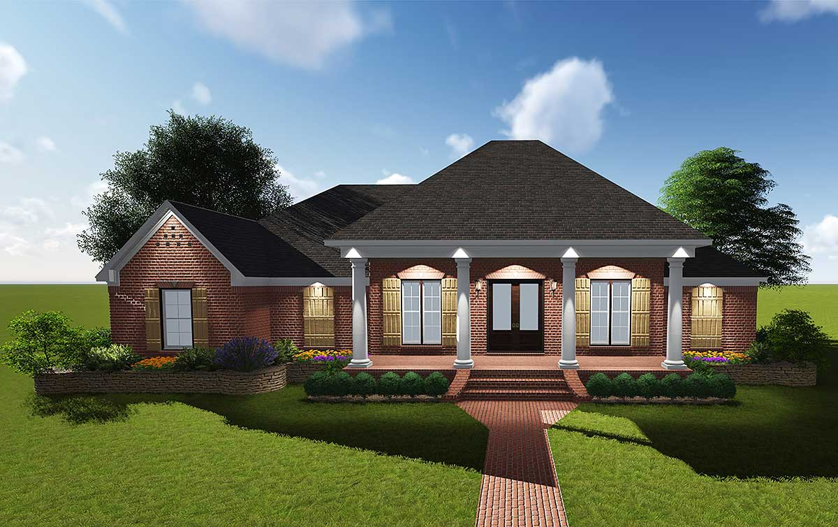 Attractive acadian with grand rear porch 83878jw for Acadian home plans