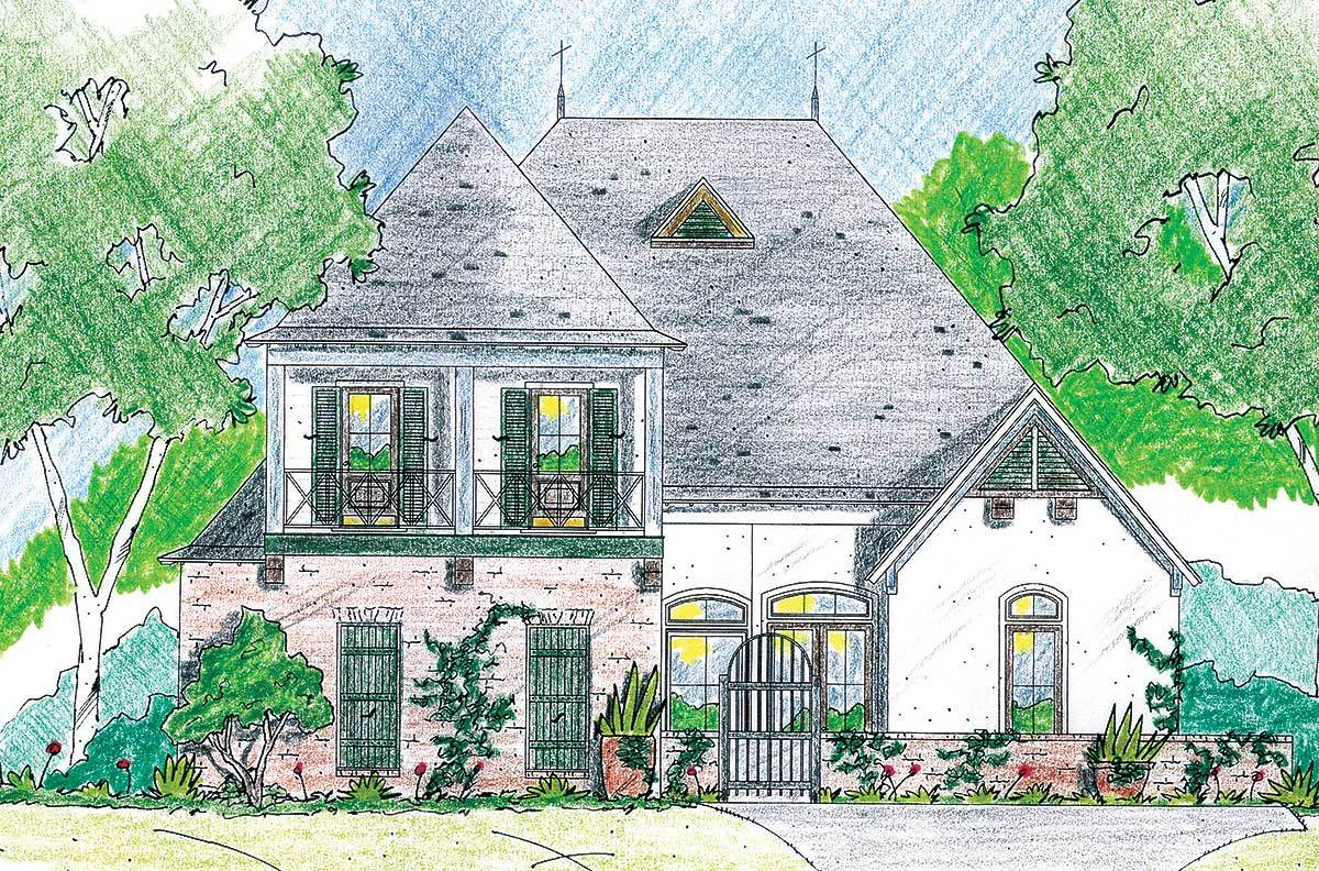 Stately french country home plan 84019jh architectural for Stately house plans