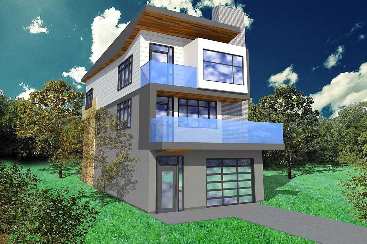 Narrow Lot Contemporary Home Plan - 84903SP ...