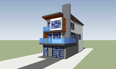 Narrow Lot Contemporary Home Plan - 84903SP thumb - 02
