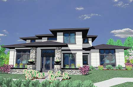 Prairie style house plan 85014ms 2nd floor master Contemporary prairie style house plans