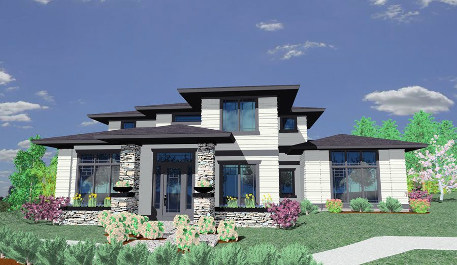 Prairie style house plan 85014ms 2nd floor master Corner lot home designs