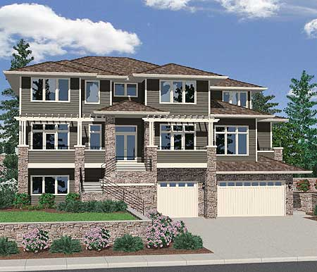 Blockbuster upslope front view design 85016ms 2nd for Vacation house plans sloped lot