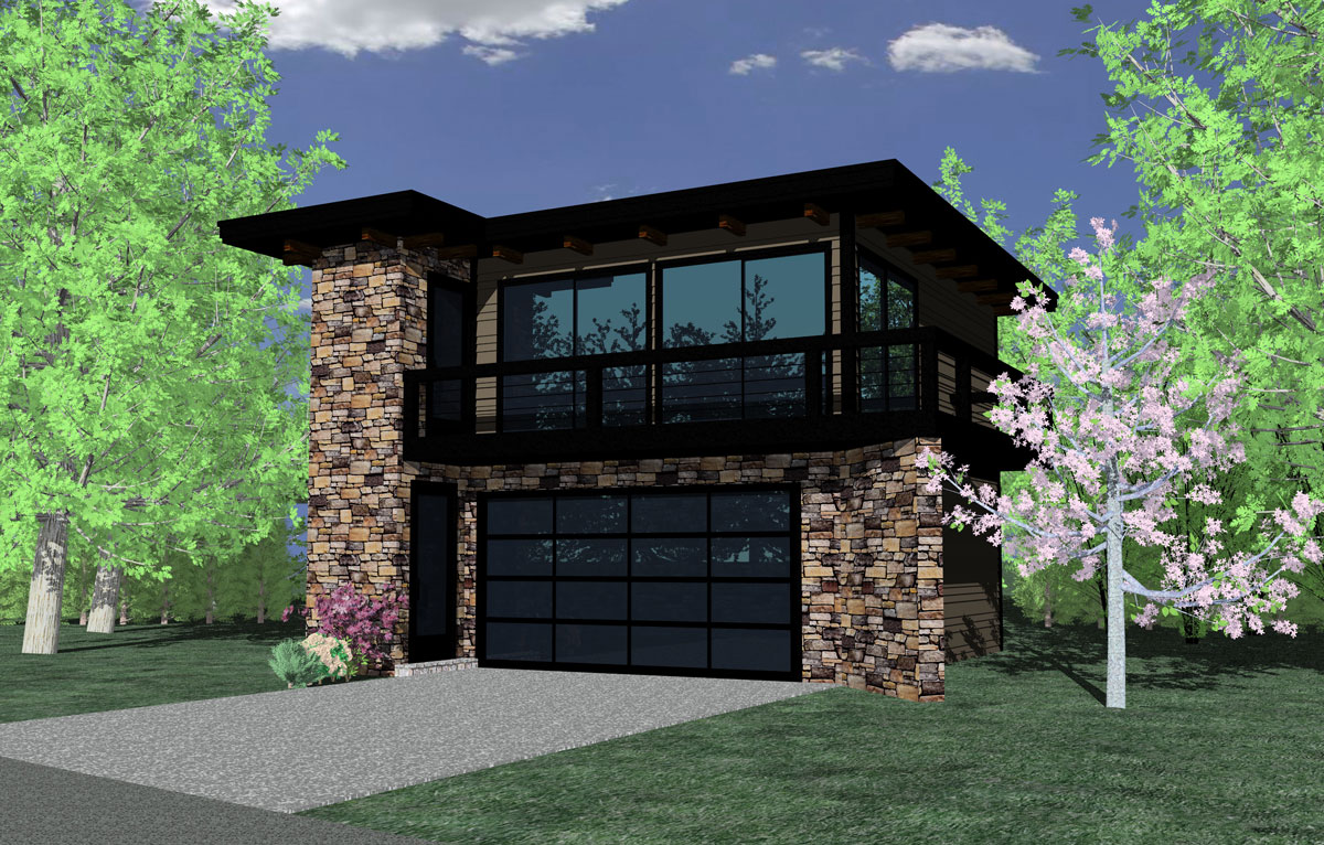 Contemporary garage studio 85022ms 2nd floor master for Narrow house plans with garage underneath
