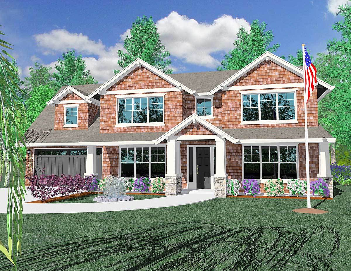 Craftsman home plan for a shallow lot 85041ms for Shallow house plans