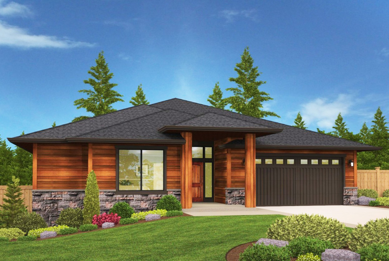 Modern Prarie Ranch House Plan with Covered Patio ...