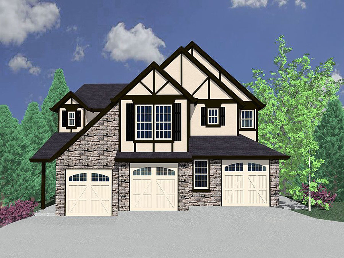 Tudor triplex house plan 85056ms 1st floor master for Triplex house designs