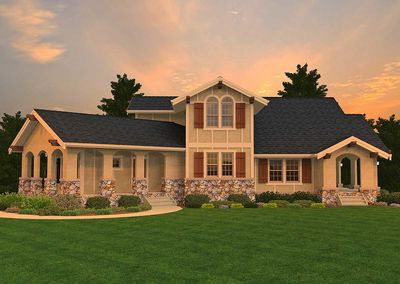 3 bed tuscan beauty with casita 85057ms architectural for Tuscan home plans with casitas