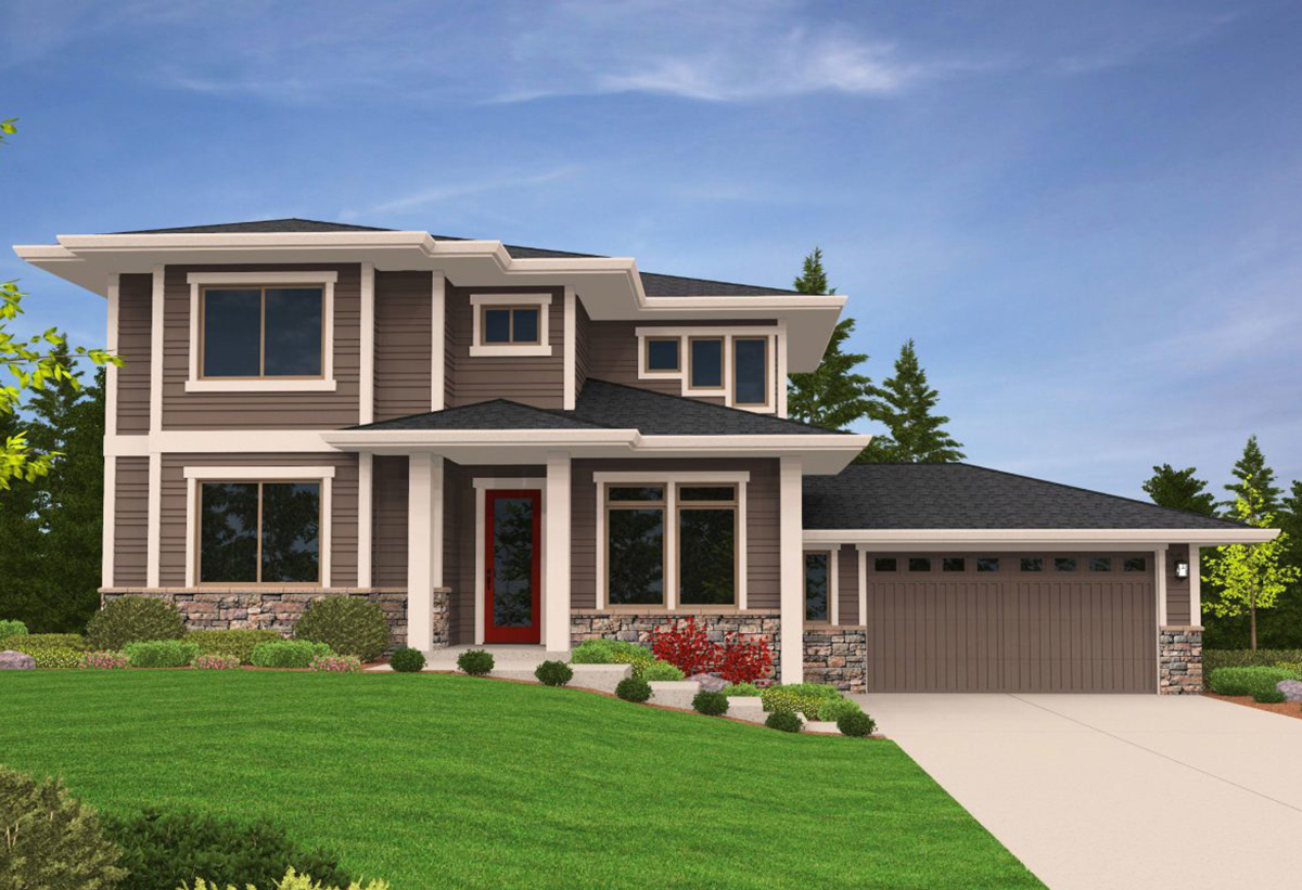 Prairie modern house plan for side sloping lot 85079ms for Sloped lot home designs
