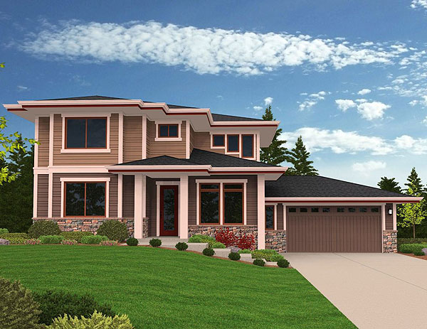 Prairie Modern House Plan For Side Sloping Lot 85079ms