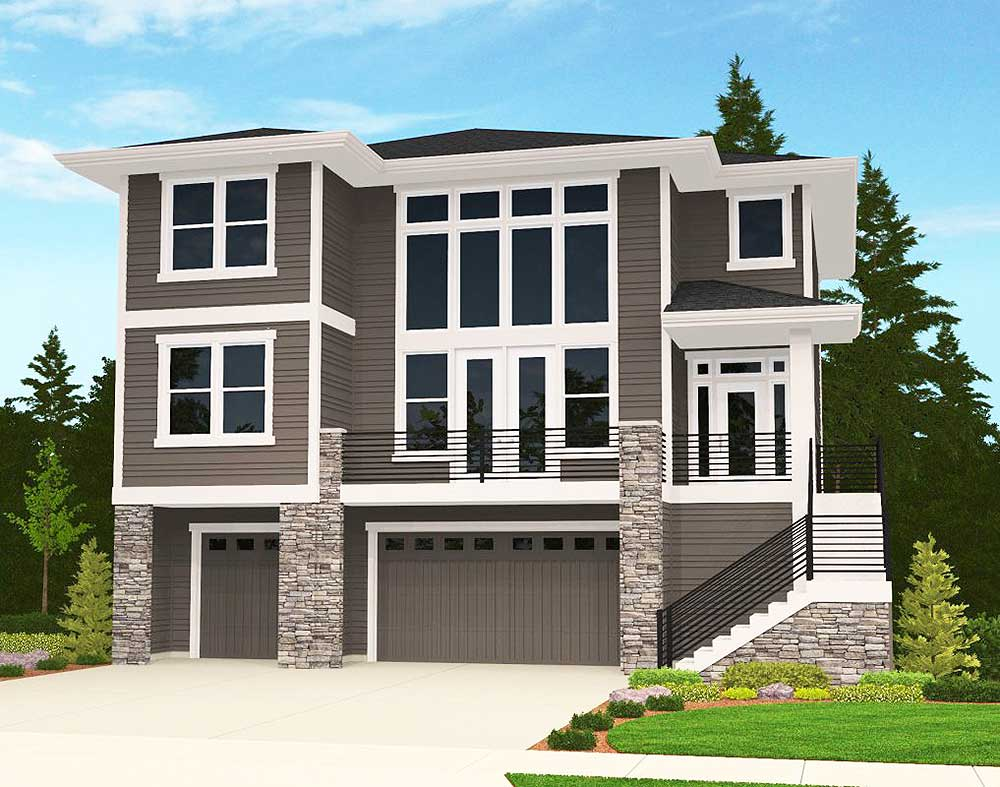 4 Bed Modern for an Uphill Lot - 85080MS | 2nd Floor ...