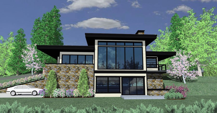 Modern ranch with views to the rear 85097ms for Home plans with a view to the rear
