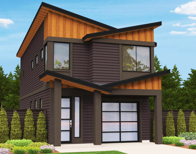 Narrow lot modern house plan 85099ms architectural for Modern fourplex designs