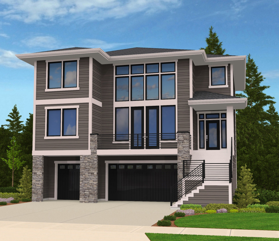 Modern house plan for front sloping lot 85102ms 2nd for Modern house plans with garage