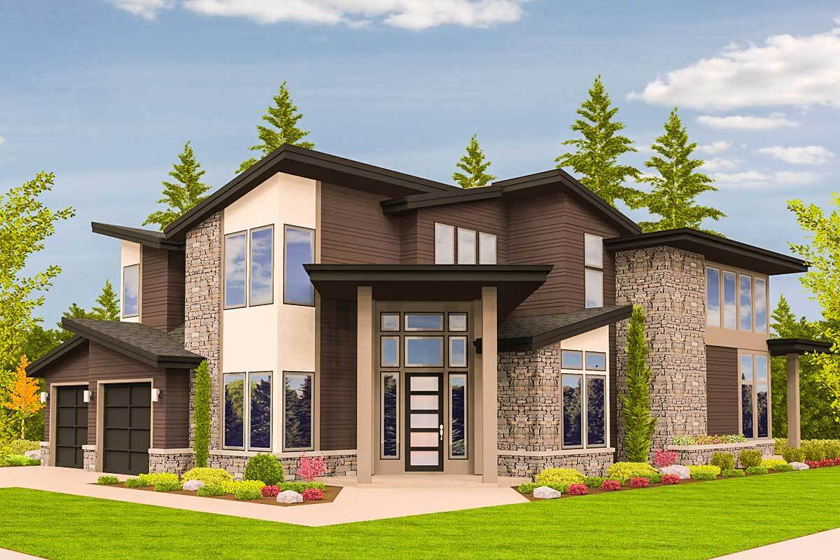Angled entry 5 bed modern house plan 85123ms for Modern house plans pdf