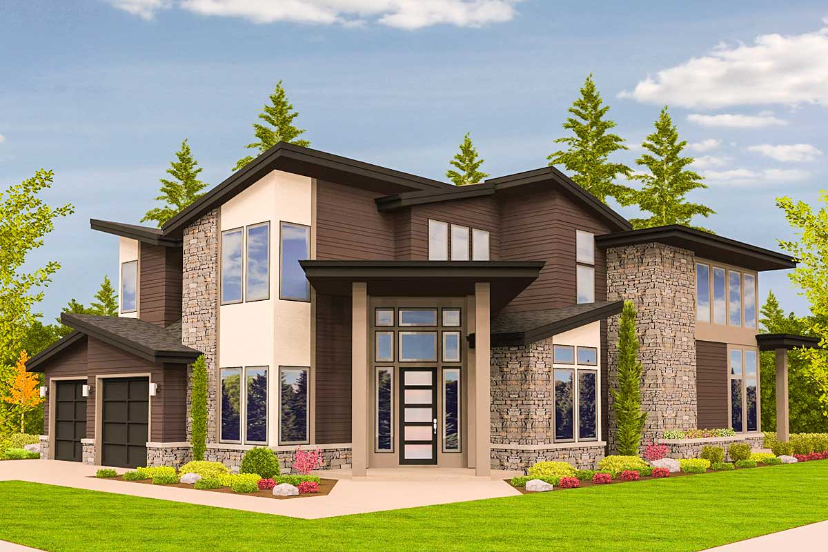 angled entry 5 bed modern house plan 85123ms