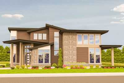 Angled Entry 5 Bed Modern House Plan - 85123MS thumb - 02