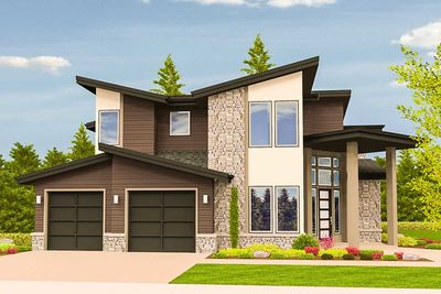 Angled Entry 5 Bed Modern House Plan - 85123MS thumb - 03