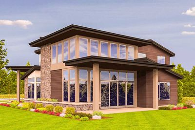 Angled Entry 5 Bed Modern House Plan - 85123MS thumb - 04