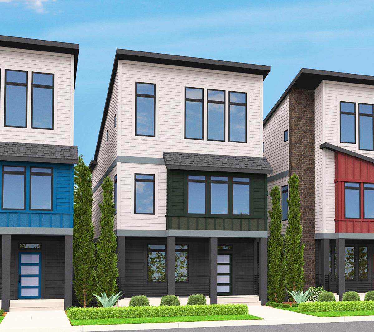 Design Homes Floor Plans: Narrow Lot Townhouse - 85124MS
