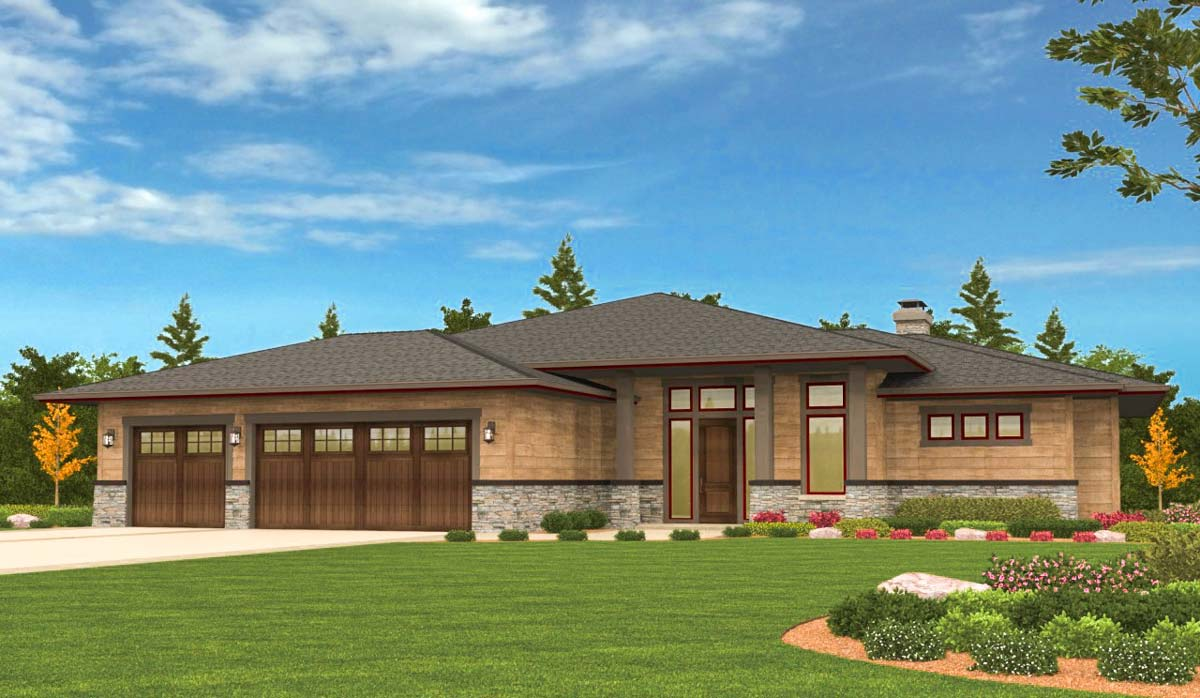 prairie style ranch homes prairie ranch home with walkout basement 85126ms architectural designs house plans 6127