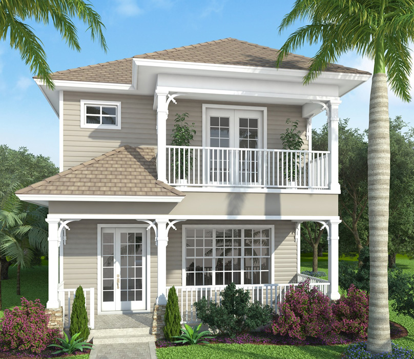 Florida house plan with stacked porches 86013bw 2nd for Florida house plans for narrow lots