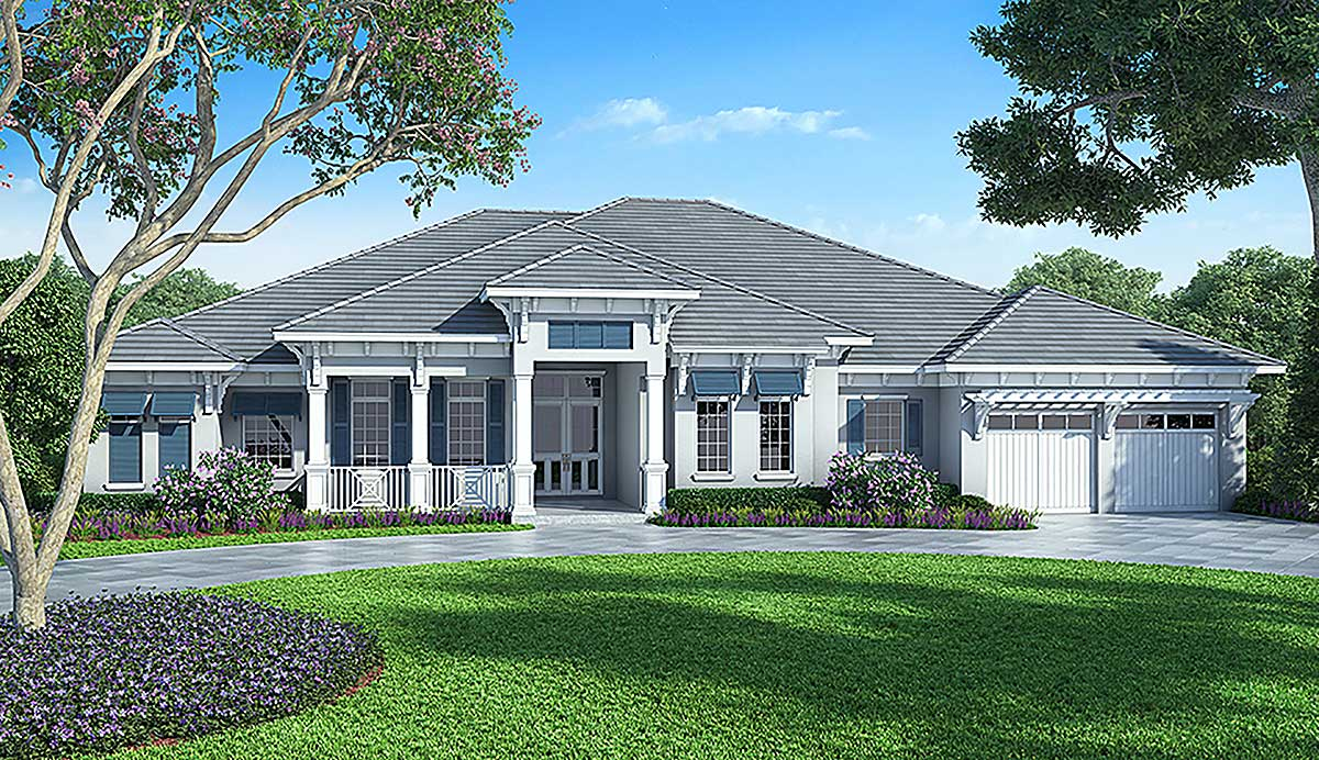 Florida House Plan With Detached Bonus Room 86017bw