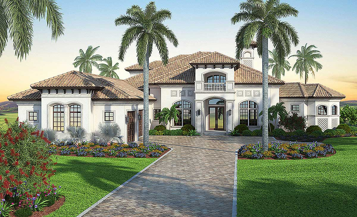 Mediterranean dream home plan with 2 master suites for Mediterranean home floor plans