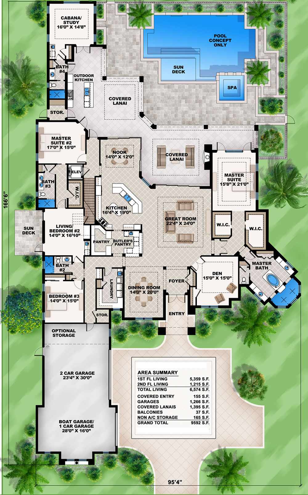 Mediterranean dream home plan with 2 master suites for Free single family home floor plans