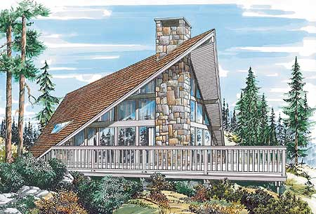 Prow shaped vacation house plan 88168sh architectural for Prow house plans