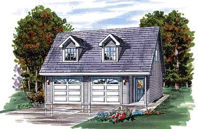 Gabled Two Car Garage Plan - 88328SH thumb - 01
