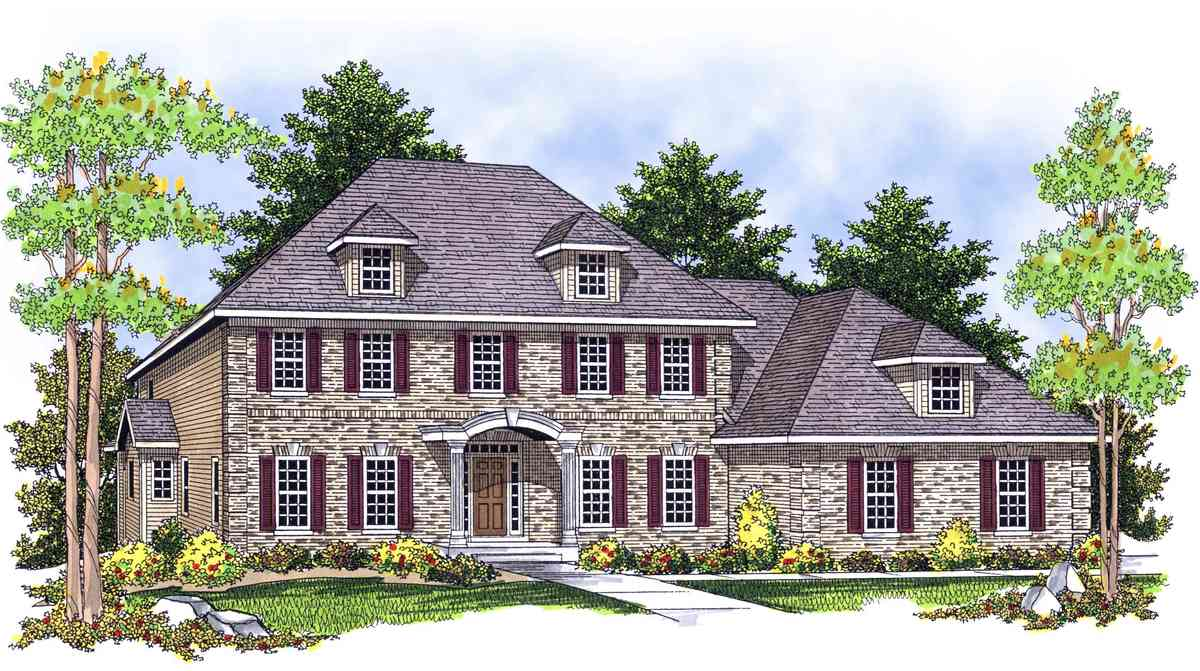 Classic two story home plan 89017ah 1st floor master for House plans with 2 story library