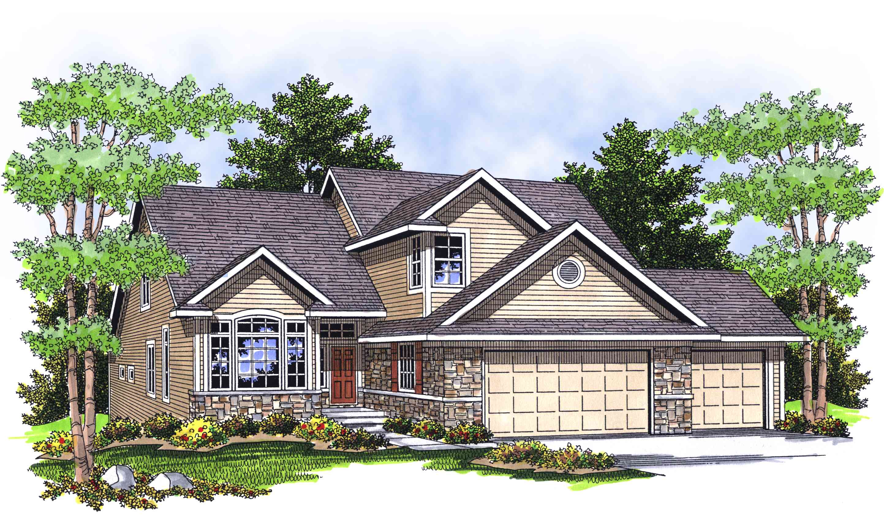 Classic ranch with stone and brick accents 89018ah for Classic ranch house plans