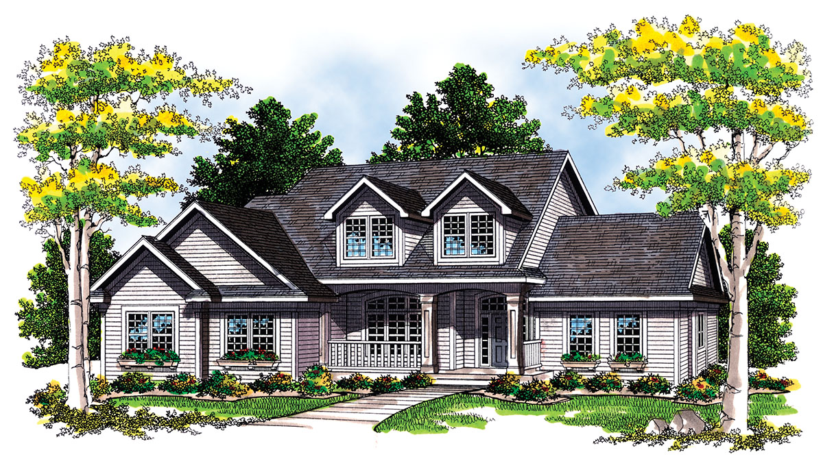 Two story plan with a side load garage 8902ah for Side garage house plans