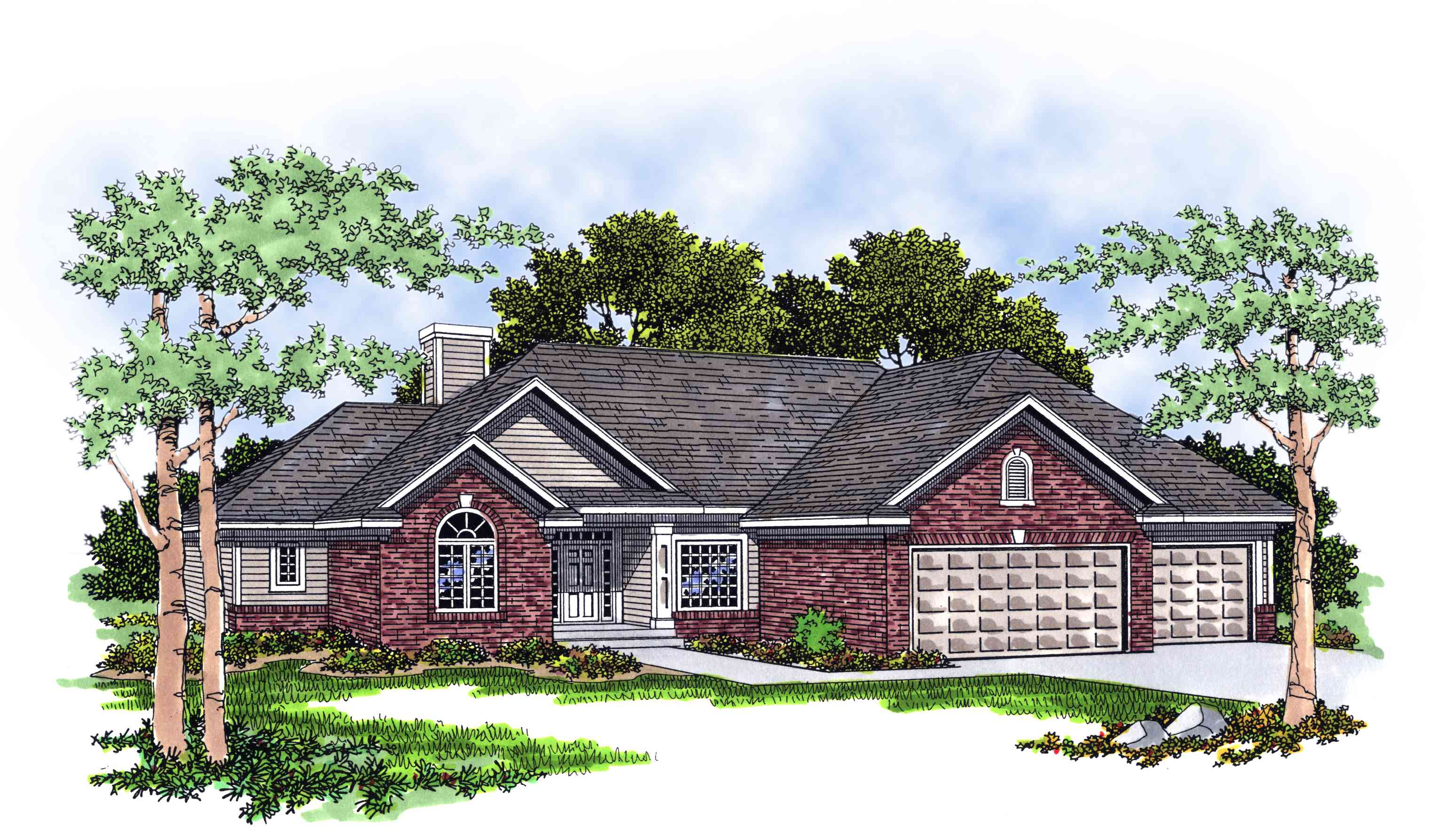 Traditional ranch home plan 8909ah architectural for Traditional ranch house